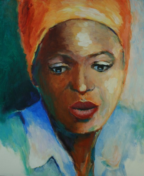 Portret_afrikaanse vrouw_34x46cm